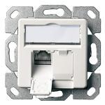 Telegärtner Datendose AMJ45 8/8 K UP/50, Cat.6A ISO/IEC, 2-fach, Unterputz, alpinweiß für 10 Gigabit/s Ethernet bis 100 m geeignet