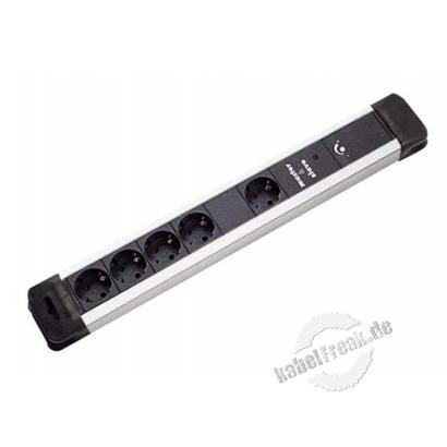 Bachmann Master-Slave Steckdosenleiste 'Connectus', 1+4-fach, Anschlussleitung 2,0 m, schwarz / silber Steckdosenleiste mit Einschalt-Automatik