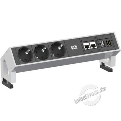 Bachmann DESK 2 Facility System, 3 x Schutzkontaktsteckdose + 2 x Cat6 + 1 x USB + 1 x HDMI, weiß Modulares System in modernem Design für die Befestigung an der Tischkante