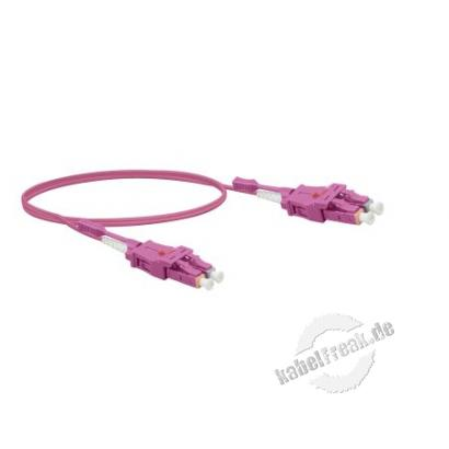 LWL Patchkabel Uniboot, 50/125 μm, OM4-Faser, LC Duplex Stecker/ LC Duplex Stecker, UPC, erika, 3,0 m UPC-Schliff