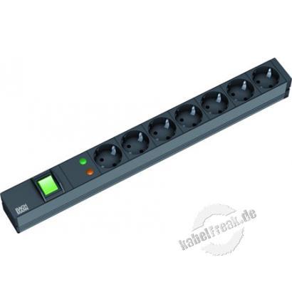 Bachmann 19' PDU Basic, Steckdosenleiste mit Überspannungsschutz , 7-fach Schutzkontaktsteckdose, schwarz