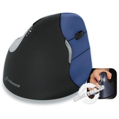 Evoluent VerticalMouse 4 Wireless, für Rechtshänder, USB, schwarz/Blau Kabellose optische Rechtshänder-Maus mit senkrechter Bediener-Oberfläche für ergonomisches Arbeiten