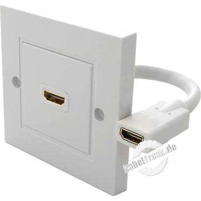 HDMI Anschlussdose, 1-fach, Unterputz, reinweiß Zum Einbau in Kabelkanäle