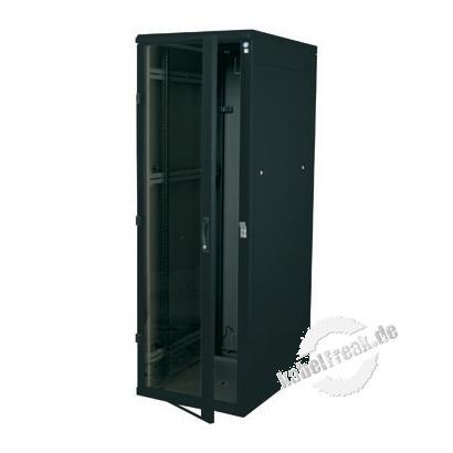 Triton 19' Serverschrank RZA, 22 HE, 800 x 1000 mm, schwarz RAL 9005 Serverschrank mit 4 Holmen, vorn Glastür, hinten perforierte Rücktür, komplett zerlegbar