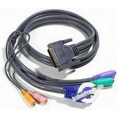 Oktopuskabel für VGA, PS/2 Maus + Tastatur für 60884, für 15p. HD D-Sub Bu, 2x6p. Mini DIN Bu an 25p. D-Sub St, 1,1m