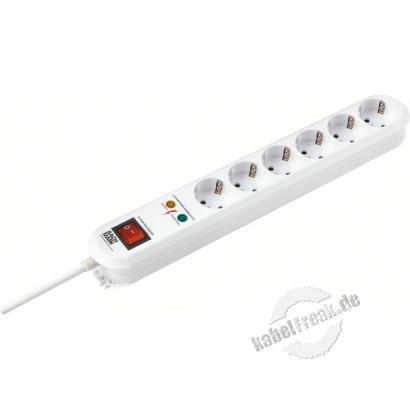 Bachmann Steckdosen-Schutzleiste 'Smart', 6-fach, mit Überspannungsschutz und Schalter, Anschlussleitung 1,5 m, weiß