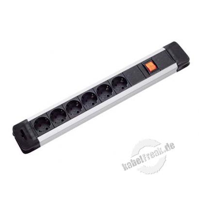 Bachmann Steckdosenleiste 'Connectus', 6-fach, mit Schalter, Anschlussleitung 2,0 m, schwarz / silber
