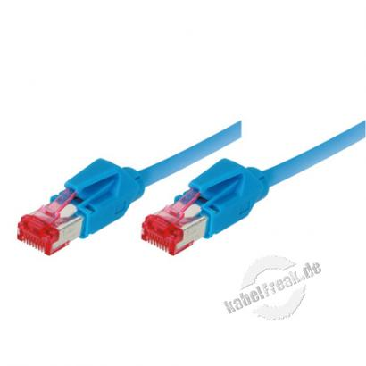 Patchkabel S/FTP, PiMF, CAT.6A EIA/TIA, Class EA, blau, 15,0 m Premium Patchkabel, Leoni CAT.7 Rohkabel, Hirose TM21 Stecker, halogenfrei