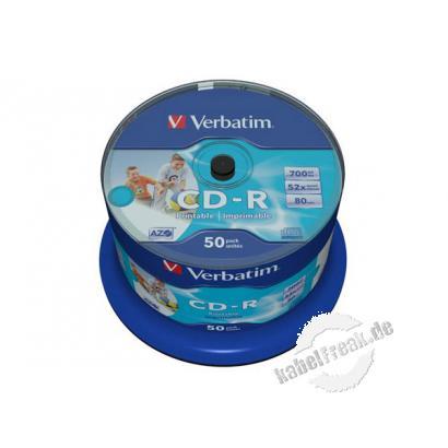 Verbatim bedruckbare CD-R 80, 700 MB, 52x, 50er Spindel Bedruckbare CD-R für Tintenstrahldrucker