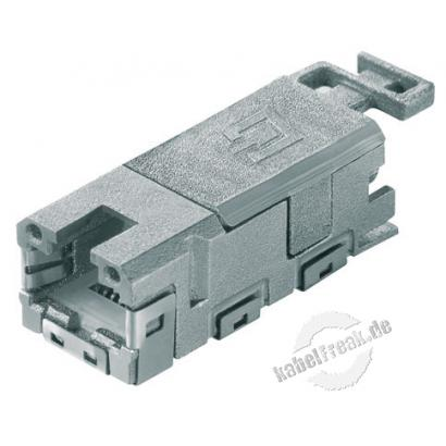 MetzConnect E-DAT Industry RJ45 Buchseneinsatz für IP67 Flanschgehäuse, System Steadytec Buchseneinsatz, Anschluss im Gehäuse-Inneren an Installationskabel (IDC-Klemmen)