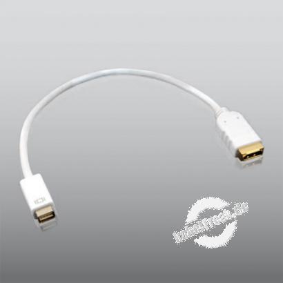 PureLink Mini DVI Stecker auf HDMI Buchse (19pol), 0,20 m weiss mit vergoldeten Steckkontakten Mini-DVI Stecker auf HDMI