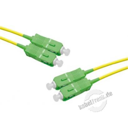 LWL Patchkabel Single-Mode OS2-Faser, 9/125 μm, gelb,  SC APC 8° Duplex Stecker / SC APC Duplex Stecker, 3,0 m APC Schliff