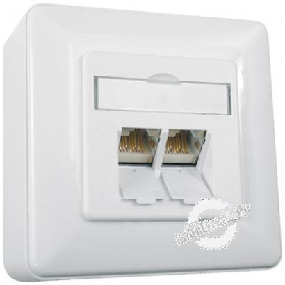 Metz Connect Datendose E-DAT C6, Cat.6, 2-fach, Aufputz, reinweiß RAL 9010 Zum Anschluss von 2 PCs