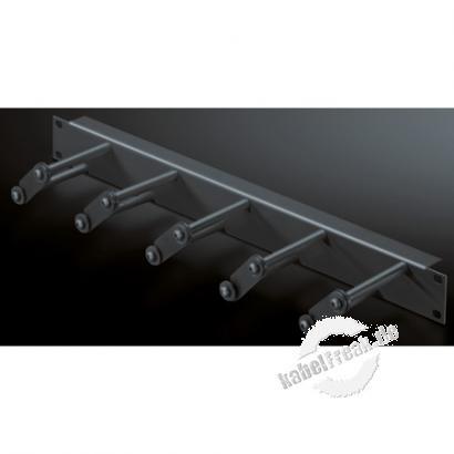 Rittal 19' Rangierfrontplatte, 1 HE, 5 Kabelsprossen (Kunststoff), schwarz RAL 9005 Zum horizontalen Rangieren der Patchkabel mit Kabelsprossen