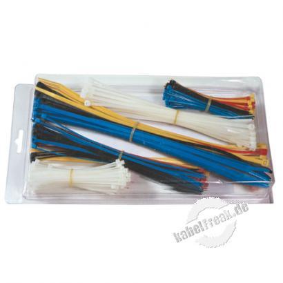 Kabelbinder Sortiment, 650 Stück farbig sortiert und verschiedene Größen (200 Stück 98 x 2,5mm, 250 Stück 200 x 2,3mm, 200 Stück 280 x 4,8mm) Sortiment von farbig gemixten Kabelbindern in einer Box