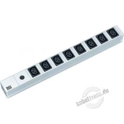 Bachmann 19' PDU Basic, Steckdosenleiste mit Sicherung, Anschlusskabel mit Schutzkontakt-Winkelstecker, 8-fach IEC320 C13 Kaltgerätebuchse