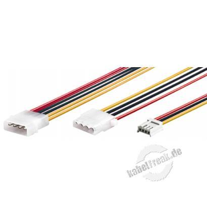Stromversorgungs Y-Kabel, 1x 5,25' St. / 1x 5,25' Bu. und 1x 3,5' Bu., 0,2 m