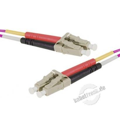 LWL Patchkabel HD, 50/125 μm, OM4-Faser, LC Duplex Stecker/Stecker, erika-violet, 3,0 m UPC UPC-Schliff
