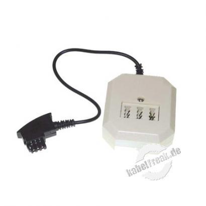Adapter TAE F Stecker auf TAE NFN Buchse und 6P4C Modularbuchse