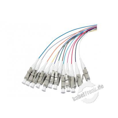 LWL Faserpigtails, farbig, 50/125 µm, OM3-Faser, 12x LC Stecker türkis, 2,0 m 12 LC Faserpigtails mit farbiger Codierung zum Einbau in Spleißboxen