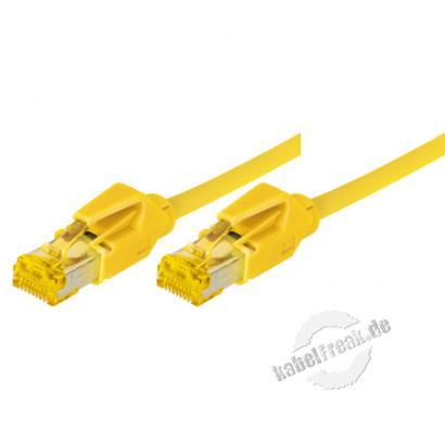 Tecline Patchkabel Cat. 6A (ISO/IEC), S/FTP, halogenfrei, mit Rastnasenschutz, gelb, 35,0 m 10-Gigabit-fähiges Premiumpatchkabel mit Draka Cat. 7 Rohkabel