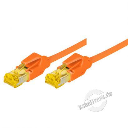 Tecline Patchkabel Cat. 6A (ISO/IEC), S/FTP, halogenfrei, mit Rastnasenschutz, orange, 25,0 m 10-Gigabit-fähiges Premiumpatchkabel mit Draka Cat. 7 Rohkabel