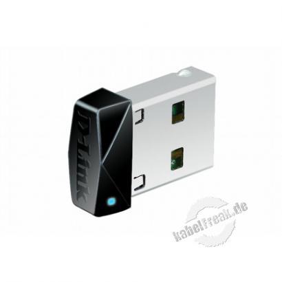 D-Link Wireless N 150 Micro USB Adapter DWA-121, 150 Mbit/s (2,4 GHz), USB 2.0 kann im Notebook verbleiben und blockiert keine anderen USB-Ports