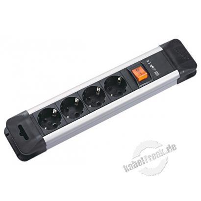 Bachmann Steckdosenleiste 'Connectus', 4-fach, mit Schalter, Anschlussleitung 2,0 m, schwarz / silber