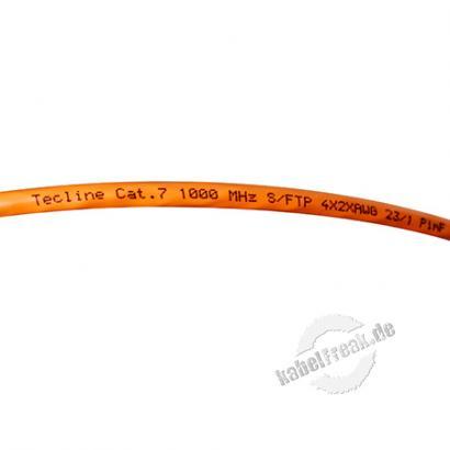 Tecline Installationskabel, Cat. 7, S/FTP (PiMF), halogenfrei, orange, 500 m Einwegtrommel Paarweise und gesamtgeschirmtes Netzwerk-Installationskabel