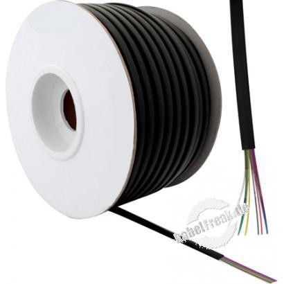 Modularkabel flach, 100 m Rolle, 8-adrig, schwarz