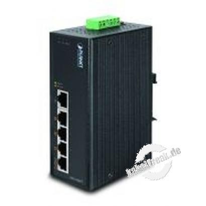 Planet Industrial Fast Ethernet Switch ISW-504PT, 5 Port, PoE,  für Hutschienenmontage Kompakter Switch für Industrieanwendungen mit Stromversorgung für PoE Endgeräte