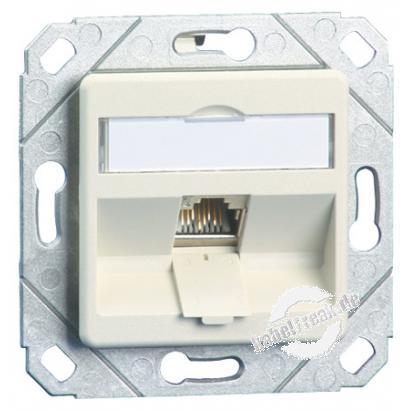 MetzConnect Datendose C6Amodul, Cat.6A (ISO), 270°, 1-fach, Kanaleinbau, reinweiß RAL 9010 Zum Anschluss von einem PC