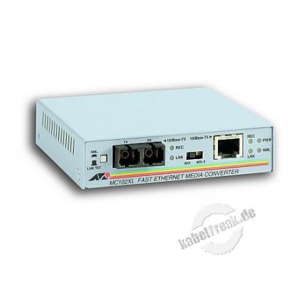 Allied Telesis Medienkonverter AT-MC102XL, 100 Mbit/s, RJ45 an LWL SC, Multimode Zur Konvertierung von Fast Ethernet bzw. Gigabit Ethernet auf Kupferleitungen in LWL und umgekehrt