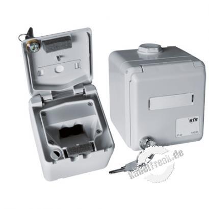 Metz Connect Aufputzgehäuse E-DAT modul, Schutzart IP44, abschließbar, grau Spritzwassergeschütztes Gehäuse zur Aufnahme von 2 E-DAT modulAnschlussbuchsen Cat.6a