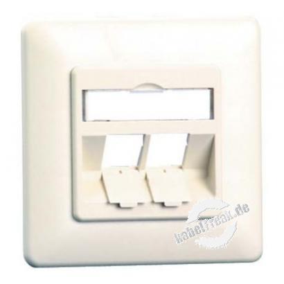 MetzConnect Datendose E-DAT modul, unbestückt, 2-fach, Unterputz, reinweiß RAL 9010 Zum Anschluss von bis zu 2 PCs