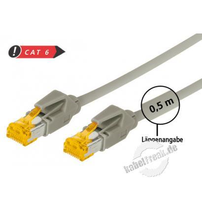 Tecline Patchkabel Cat. 6A (ISO/IEC), S/FTP, halogenfrei, mit Rastnasenschutz, grau, 1,5 m 10-Gigabit-fähiges Premiumpatchkabel mit Draka Cat. 7 Rohkabel
