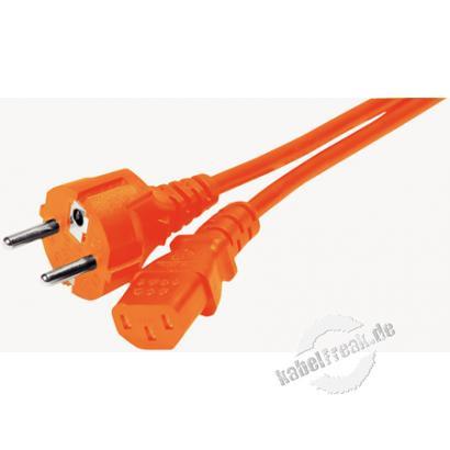 Netzanschlusskabel, Schutzkontaktstecker gerade an Kaltgerätebuchse, orange, 1,8 m Netzanschlusskabel für Deutschland, Frankreich, Belgien..
