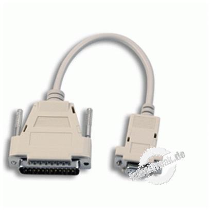AT Adapterkabel, 9pol D-Sub Bu./25 pol D-Sub St., 0,1 m Anschlusskabel für serielles Modem
