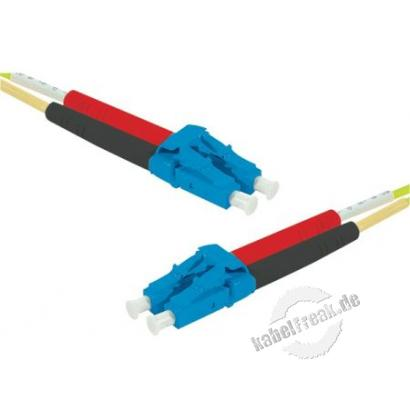 LWL Patchkabel HD, 9/125 μm, OS2-Faser,  LC Duplex Stecker/Stecker, gelb, 5,0 m UPC UPC-Schliff