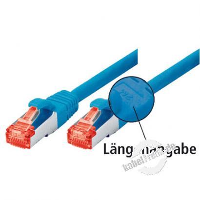 Tecline Patchkabel Cat. 6, S/FTP (PiMF), halogenfrei, mit Rastnasenschutz, blau, 20,0 m Geschirmtes Patchkabel mit schmalem Knickschutz