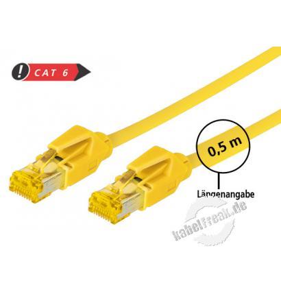 Tecline Patchkabel Cat. 6A (ISO/IEC), S/FTP, halogenfrei, mit Rastnasenschutz, gelb, 1,5 m 10-Gigabit-fähiges Premiumpatchkabel mit Draka Cat. 7 Rohkabel