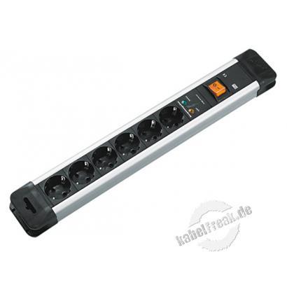 Bachmann Steckdosen-Schutzleiste 'Connectus', 6-fach, mit Gerätevollschutz und Schalter, Anschlussleitung 2,0 m, schwarz / silber