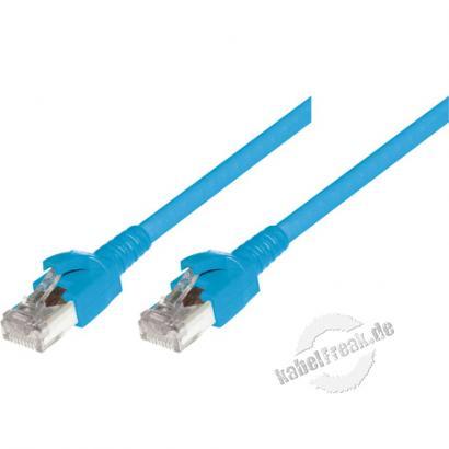 Dätwyler Patchkabel S/FTP, PiMF, Cat.6A, blau, 3,0 m Premium Patchkabel, Dätwyler CAT.7 Rohkabel, Dätwyler Stecker, halogenfrei