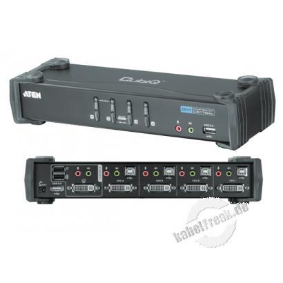 ATEN DVI KVM Switch CS1764A mit Audio, USB, 4-fach, Desktop, mit Anschlusskabeln Mehrere Pcs mit USB-Anschluss werden von 1 Arbeitsplatz (USB Tastatur, DVI Monitor, USB Maus, Lautsprecher, Mikrofon, 2 USB 2.0 Peripheriegeräte) gesteuert