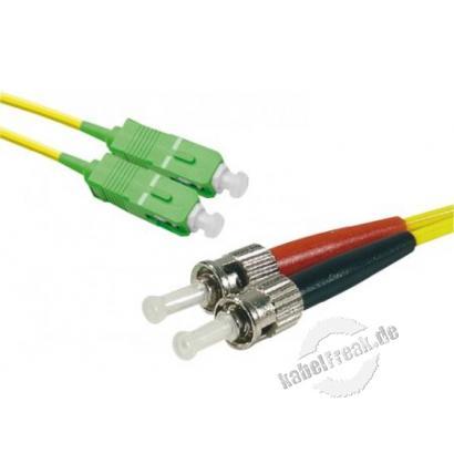 LWL Patchkabel Single-Mode OS2-Faser, 9/125 μm, gelb, SC APC 8° Duplex Stecker/ ST UPC Duplex Stecker, 1,0 m  APC Schliff