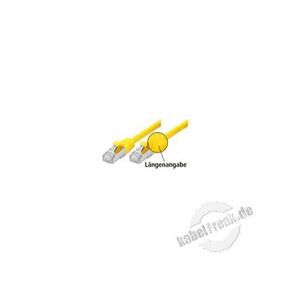 Patchkabel Cat. 5e, SF/UTP, mit Rastnasenschutz, gelb, 5,0 m Geschirmtes Patchkabel mit schmalem Knickschutz