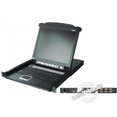 ATEN Arbeitskonsole 43 cm (17') ( TFT Konsole, Rackmaster ) mit integriertem KVM-Switch, PS/2 und USB, 8-fach, englisches Layout Tastatur mit 43 cm (17') LCD-Bildschirm für bis zu 8 Server zum Einbau im 19' Schrank