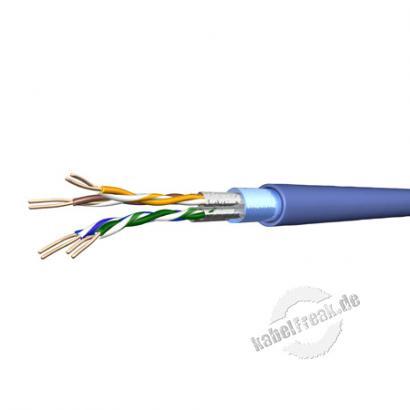 Draka Verlegekabel UC500 AS23, Cat.6a, F/FTP, hellblau, 500 m Einwegtrommel Je 2 Paare gemeinsam und gesamtgeschirmtes Netzwerk-Installationskabel
