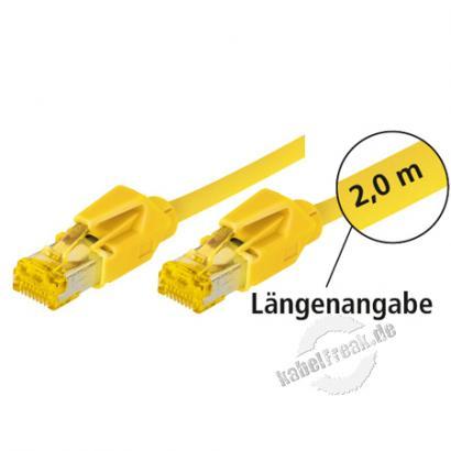 Tecline Patchkabel Cat. 6A (ISO/IEC), S/FTP (PiMF), halogenfrei, mit Rastnasenschutz, gelb, 20,0 m 10-Gigabit-fähiges Premiumpatchkabel mit Leoni Cat. 7 Rohkabel und Hirose Steckern