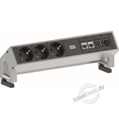 Bachmann DESK 2 Facility System, 3 x Schutzkontaktsteckdose + 2 x Cat6 + 1 x USB + 1 x HDMI, INOX modulares System in modernem Design für die Befestigung an der Tischkante